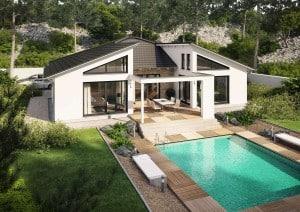 Hier ist die Terrasse das Zentrum des Hauses. Der Pool liegt eine Etage tiefer. (Bild: Rensch-Haus)