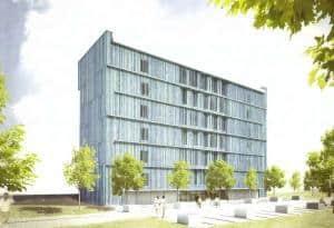 Ein achtstöckiges Hochhaus ganz aus Holz entsteht an der A7 bei Aalen (Bild: Kampa Haus)