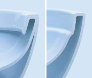 """""""Rimfree"""" (rechts) statt Spülrand (links) an der WC-Keramik: Wo es keine verdeckten, schwer zugänglichen Bereiche gibt, kann sich kaum Schmutz festsetzen. Foto: djd/Keramag"""