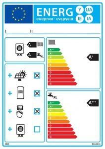 Links oben steht beim Anlagenlabel die Energieeffizienzklasse des Wärmeerzeugers mit Speicher ohne die Einbindung der solarthermischen Anlage. Rechts wird die Effizienzklasse der Verbundanlage mit Solarthermie angegeben. Foto: djd/BDH