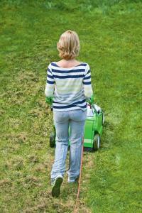 Frischekur für den Rasen: Das Vertikutieren fördert die Bildung neuer Triebe und ein gesundes Wachstum. Foto: djd/Viking