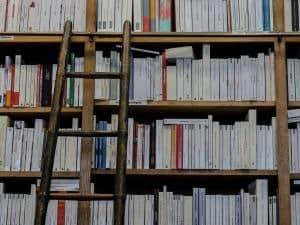 Holzleiter am Bücherregal