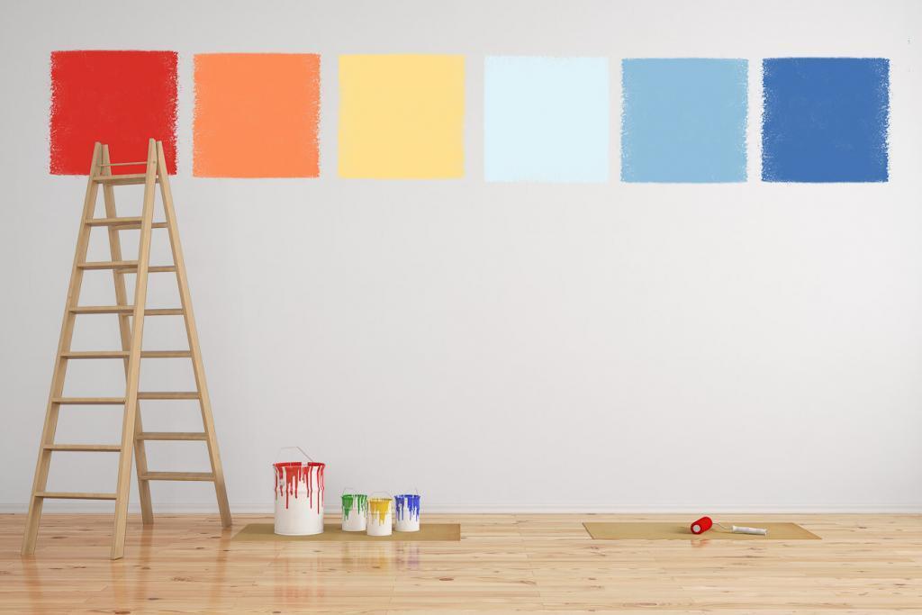 Kombination von Wandfarbe als Muster an Wand