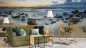 Fototapete felsiger Strand im Wohnzimmer