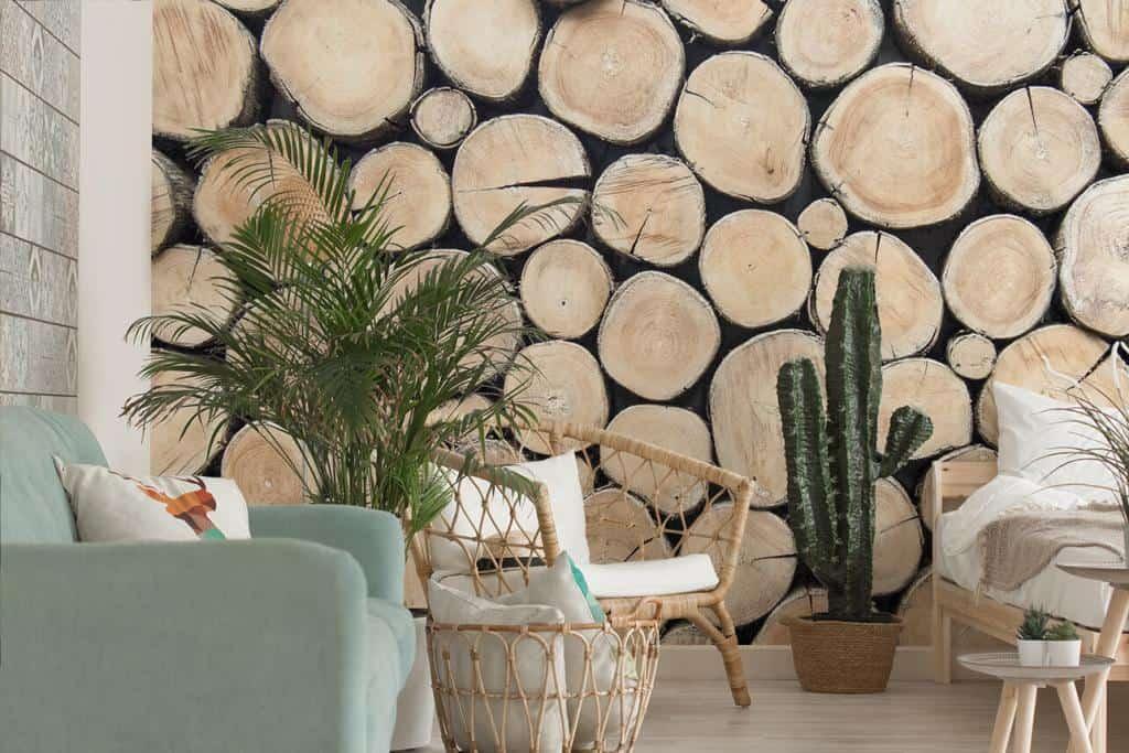 Fototapete Holzscheiben im rustikalen Wohnzimmer