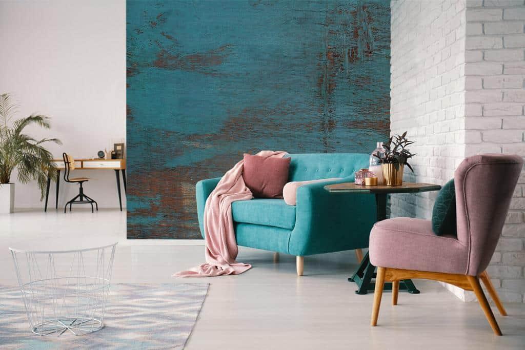 Fototapete Holzwand blau im Wohnzimmer