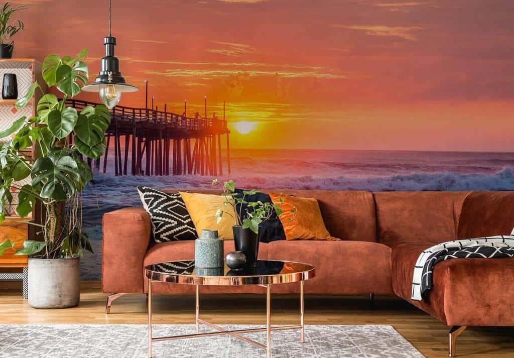 Fototapete Strand bei rosa Sonnenuntergang im Wohnzimmer