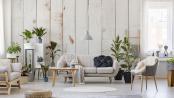 Helle Fototapete Holzwand im skandinavischen Wohnzimmer