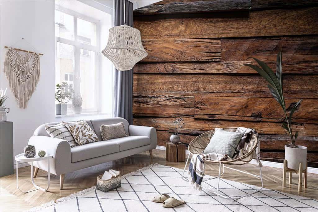 Wohnzimmer im Boho-Stil mit Fototapete Holzwand
